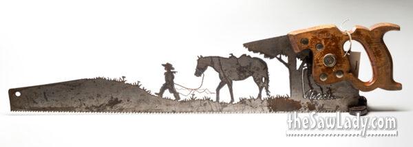 BOY-LEADING-HORSE METAL ART SAW GIFT