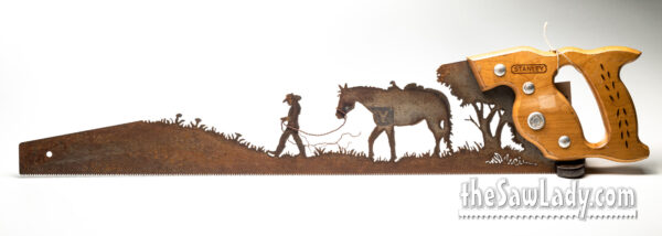 girl leading horse metal art saw gift