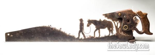 COWBOY-LEADING-HORSE METAL ART SAW GIFT
