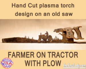 old tractor and plow metal art saw