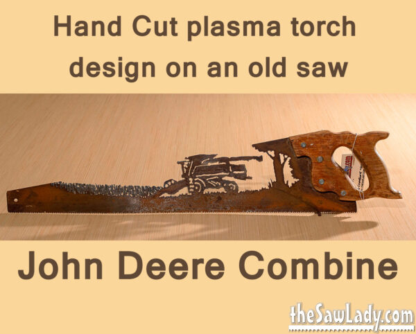 John Deere Combine Metal Art on Saw