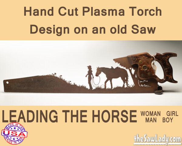 Metal Art Leading the Horse Saw