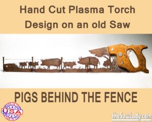 pig farming metal art gift