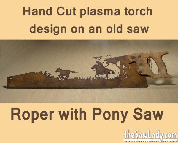 Metal Art Cowboy roping pony saw
