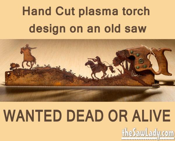 metal art gunfight cowboys saw