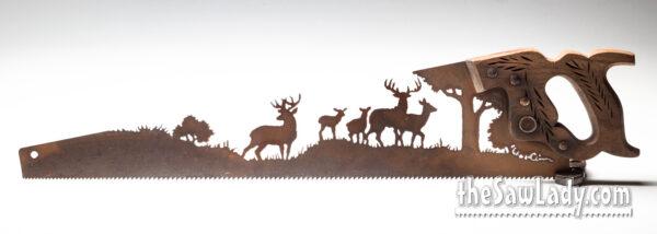 Metal Art Herd of Deer Saw