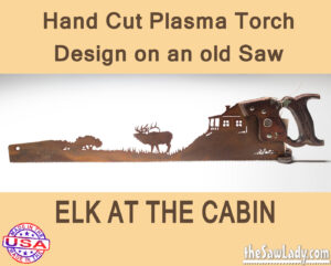 Metal Art Elk at Cabin Saw