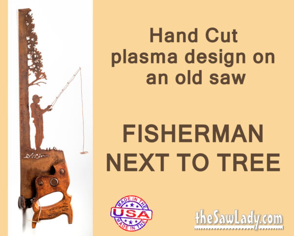 metal art fisherman gift saw