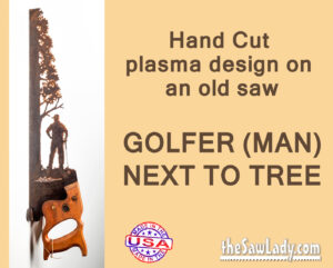Metal art GOLFER gift saw