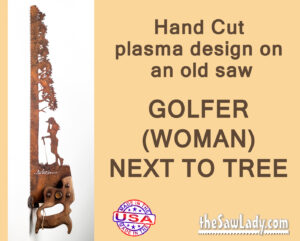 metal art woman golfer saw gift