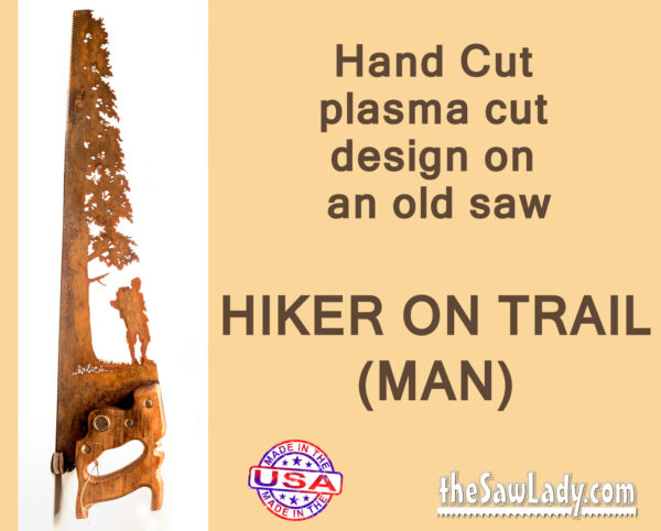 Metal art Hiker Man saw