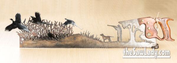 Metal Artwork Pheasant Hunter Saw