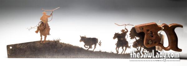team-roping-steer metal art saw gift