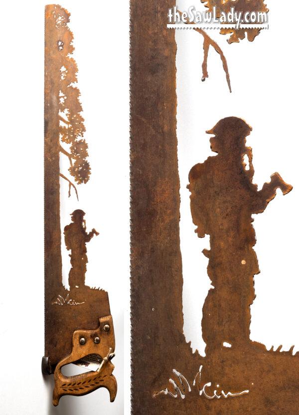 Metal art fireman hero saw