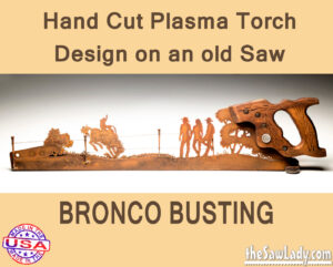 Rodeo Bronco Busting Metal Art Saw