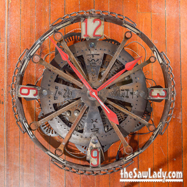 clock table scrap metal art