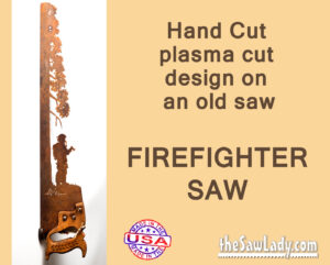 Metal art fireman hero saw