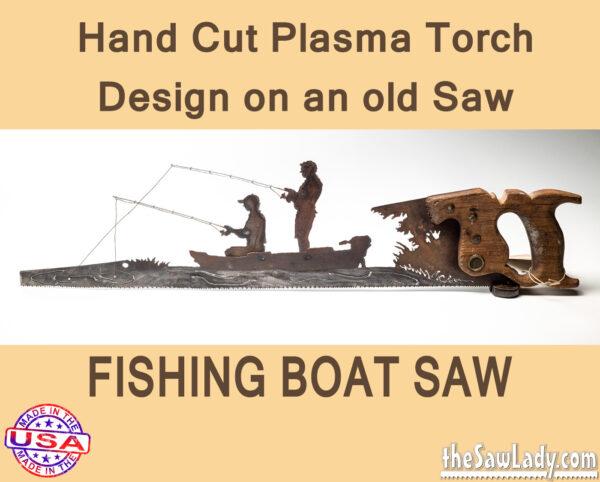 Metal art fishing boat saw