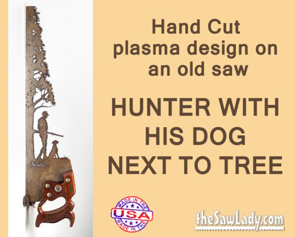 Metal art Hunter with Dog Saw artwork