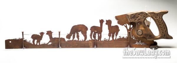 Behind-the-Fence_Alpacas metal art gift saw