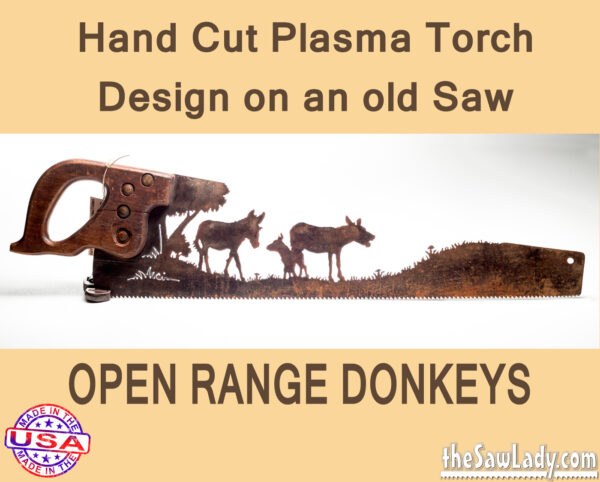 Open Range Donkeys Metal Art Saw
