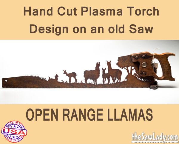 Open-range-llamas metal art saw