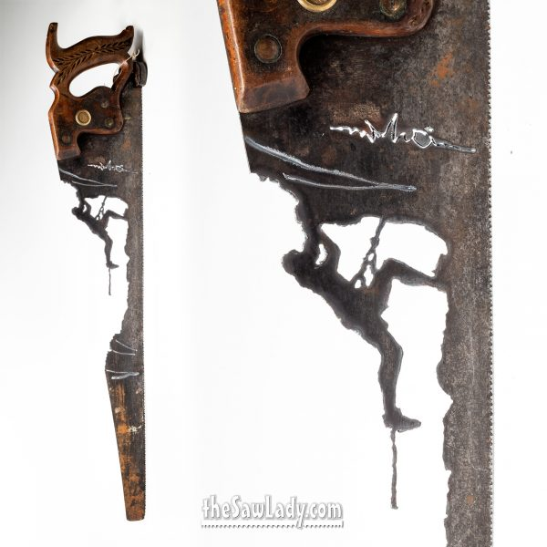 rock-climber metal art gift saw