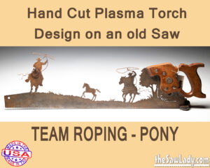 TEAM roping pony metal art saw gift