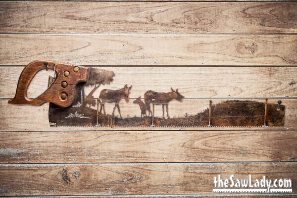 donkey gift metal art saw