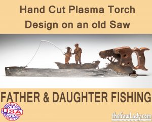 father-daughter-fishing-boat metal art saw gift