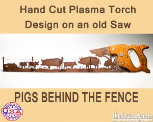 pigs-behind-fence metal art saw gift