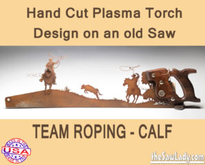 team-roping-calf metal art gift