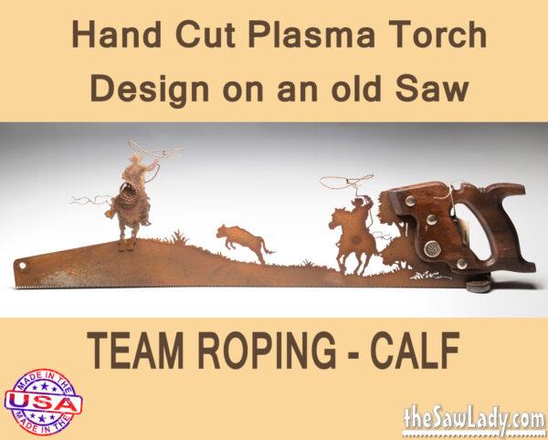 team-roping-calf metal art gift