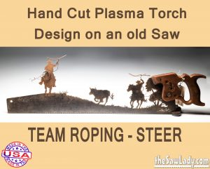 team-roping-steer metal art saw gift