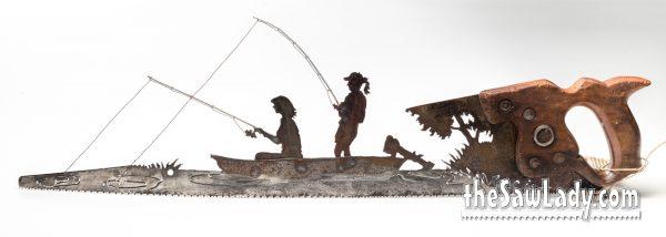 2-WOMEN-FISHING IN BOAT METAL ART SAW GIFT