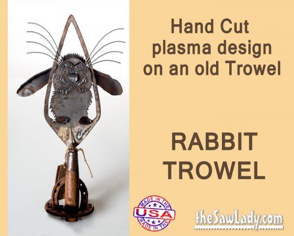 rabbit trowel gardening metal art gift